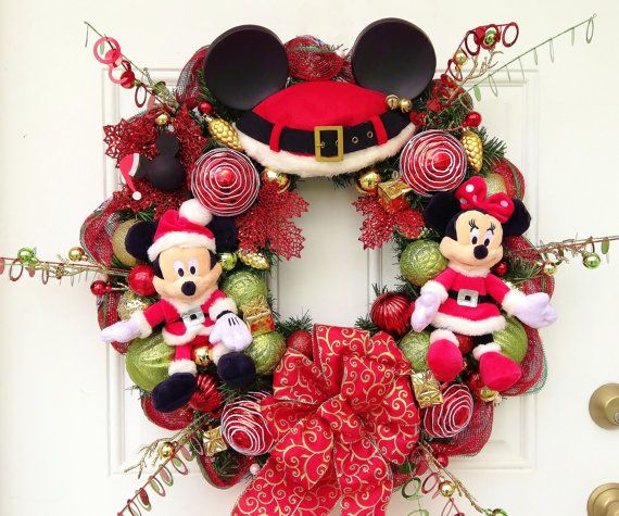 Mickey Mouse Christmas Wreath by SparkleForYourCastle on Etsy, $139.00 - So in love with this.
