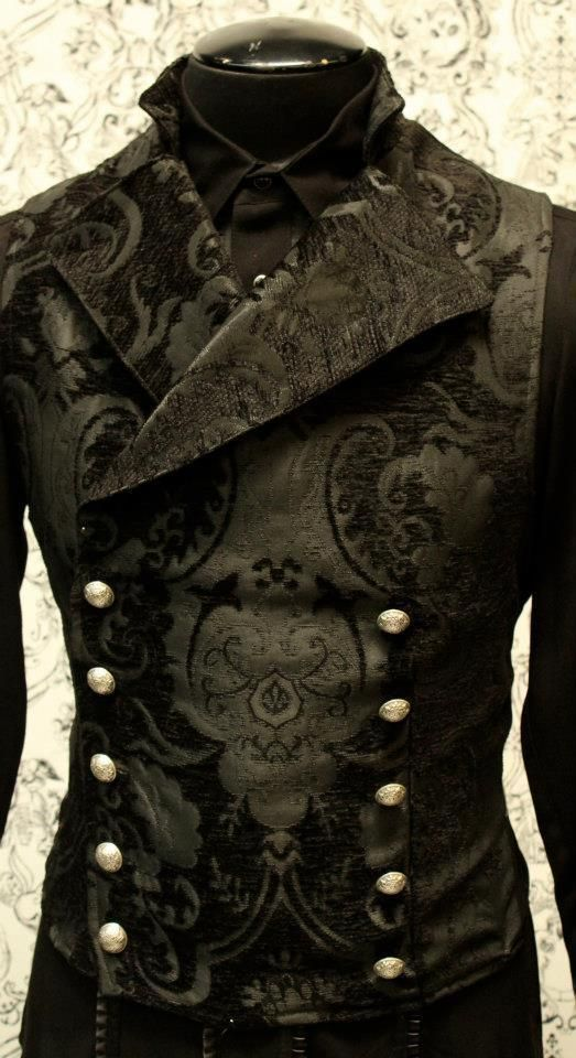 SHRINE GOTHIC VAMPIRE CAVALIER BLACK VEST JACKET VICTORIAN TAPESTRY STEAMPUNK   Clothing, Shoes & Accessories, Men's Clothing, Vests   eBay!