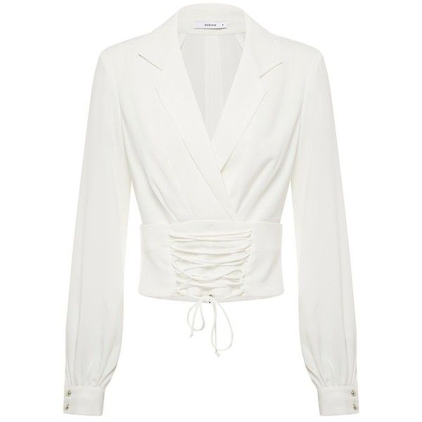 DESTINATION BLOUSE ($91) ❤ liked on Polyvore featuring tops, blouses, corsette tops, tie collar blouse, white tie-neck blouses, collar top and tie blouse