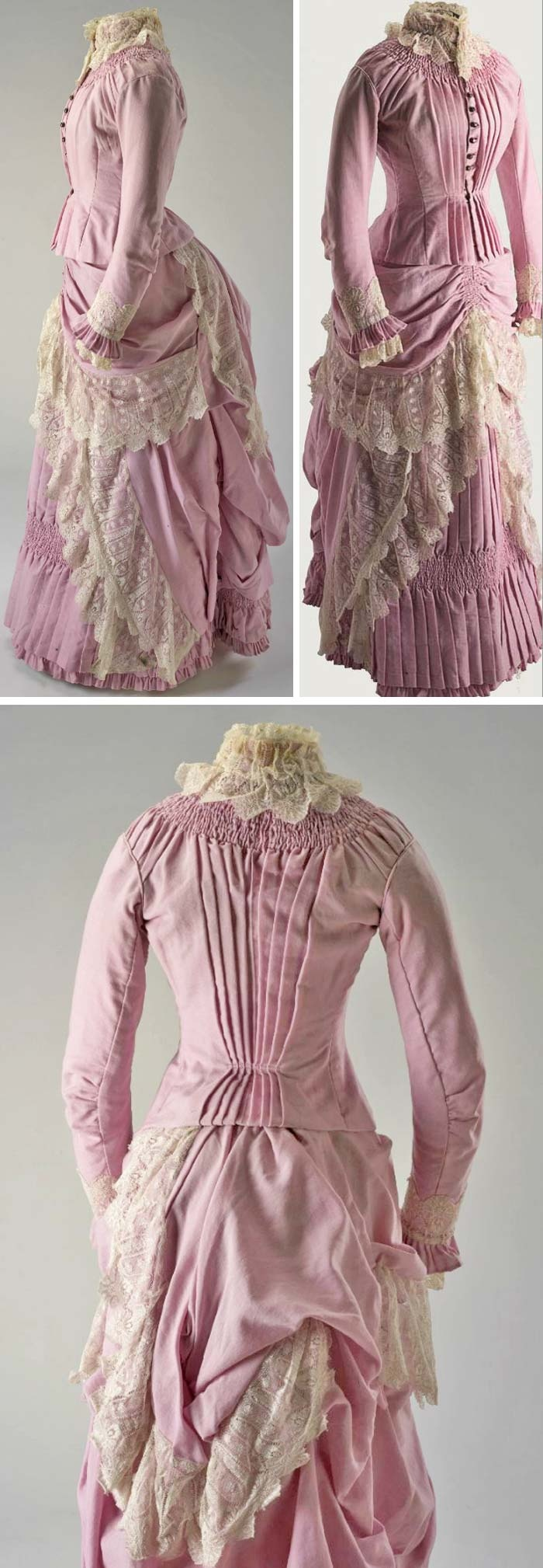Dress, circa 1885, English or Australian, sold by David Jones & Co., Sydney. Australian merino wool and cream lace. Tight-fitting boned and lined bodice Voluminous skirt made for bustle. Main panel is hand-shirred at yoke & hem, and is pleated & smocked w/heavy boning to keep tunnel shape. Top skirt/apron draped over underskirt panel and finished with lace panels, creating layers of multiple flounces and frills. National Museum, Australia, & Australian Dress Register.