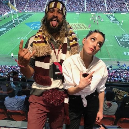 #Repost @prideofgypsies ・・・ Arthur loves a red head. @amberheard first state of origin Go Queensland My 8th state of origin I love rugby #ibleedmaroon aloha j. #Repost @realdealmada ・・・ QUEENSLAND BABY!!!!  Awesome time at the big game tonight for...