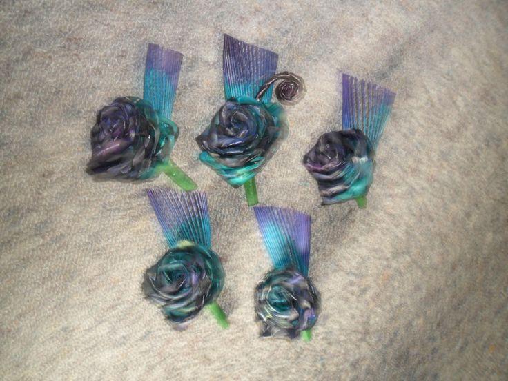 Flax flower buttonholes.