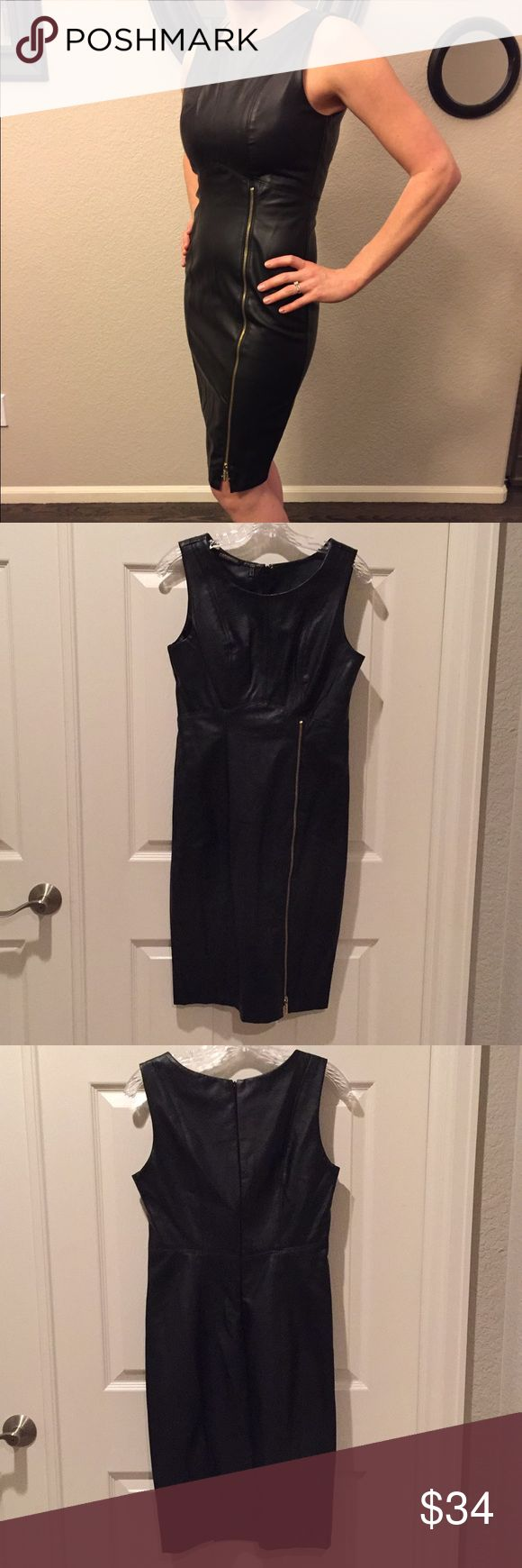 Kardashian Kollection black pleather dress NWT This dress is smokin'! Brand new with tags, black pleather dress, size small. Gold zipper on left side comes up to waist. This is a staple wardrobe piece! Kardashian Kollection Dresses Midi