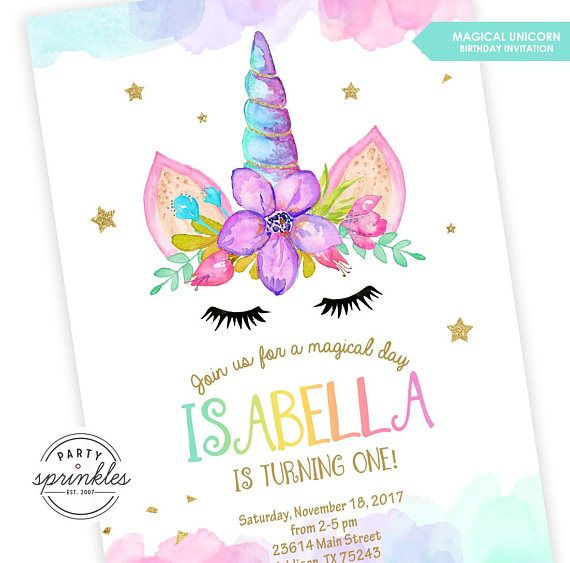 Adorable Magical Unicorn Birthday Invitation, embellished with pastel watercolors and gold glitter! This is the perfect invitation for all Unicorn lovers!! ★