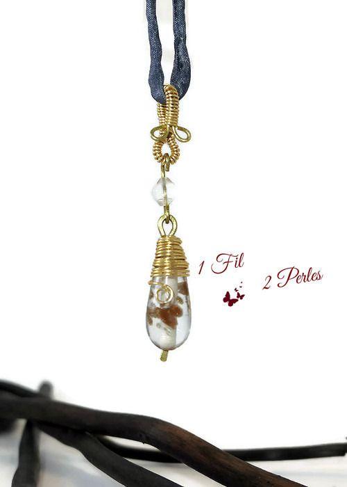 Collier Pendentif Wire Wrapping Laiton Doré Perles de Verre goutte Transparente Décorée : Pendentif par 1-fil-2-perles