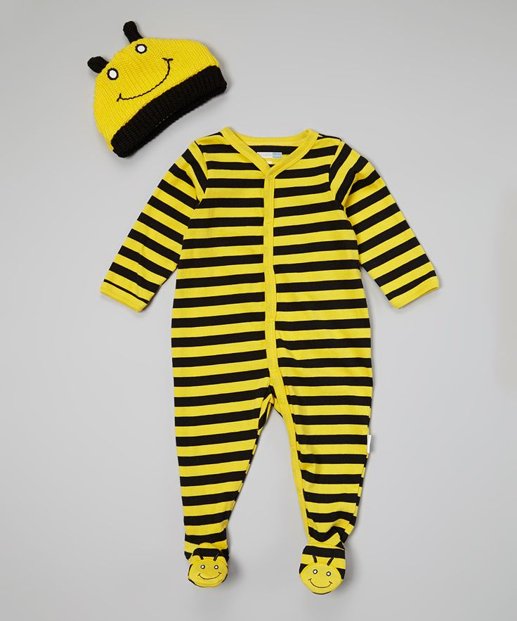 Yellow & Black Stripe Bee Footie & Beanie | zulily