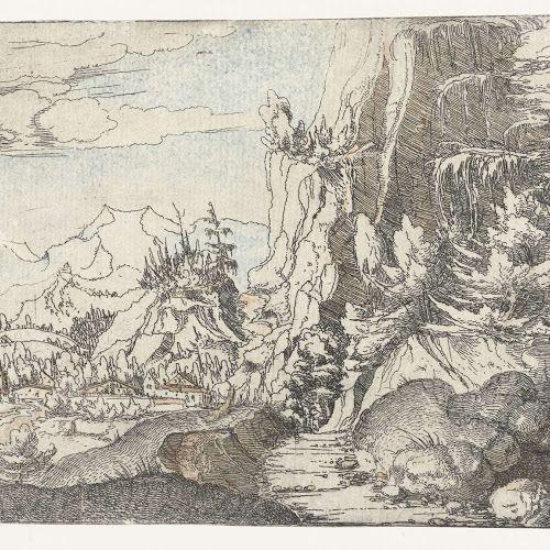 Landschap met donkere rotswand, Albrecht Altdorfer, c. 1506 - 1522 - Rijksmuseum