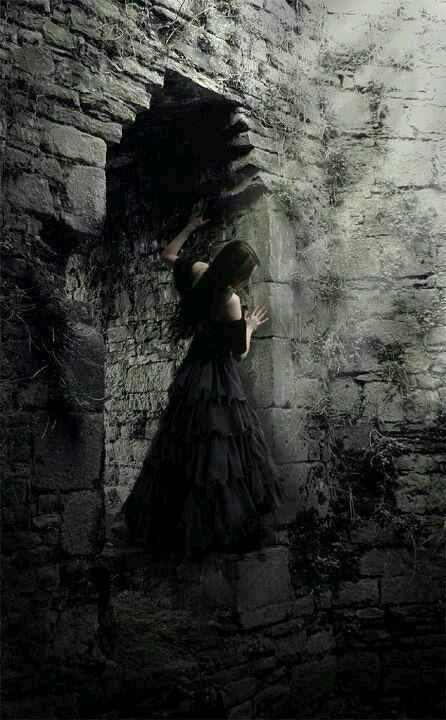 Goth Gothic fantasy. Woman, female, brick walls, black and white, stunning, fantasy art.