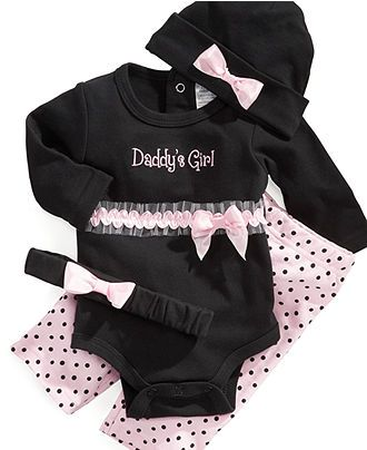 Baby Essentials Baby Set, Baby Girls Bodysuit, Pants, and Hat or Headband