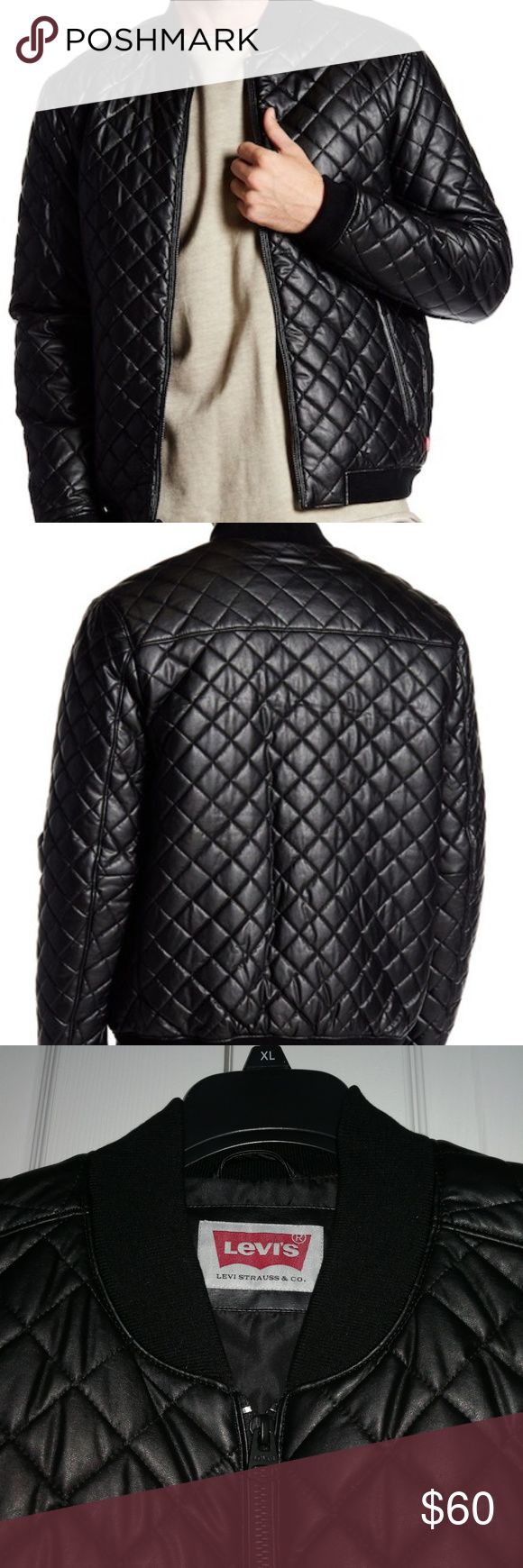"""Levi's Faux Leather Diamond Quilted Bomber Jacket Brand new with tag. By Levi's Details - Banded neck - Long sleeves - Front zip closure - 2 side zip closure pockets - Ribbed trim - Quilted faux leather construction - Lined and filled - Approx. 26"""" length Levi's Jackets & Coats Bomber & Varsity"""