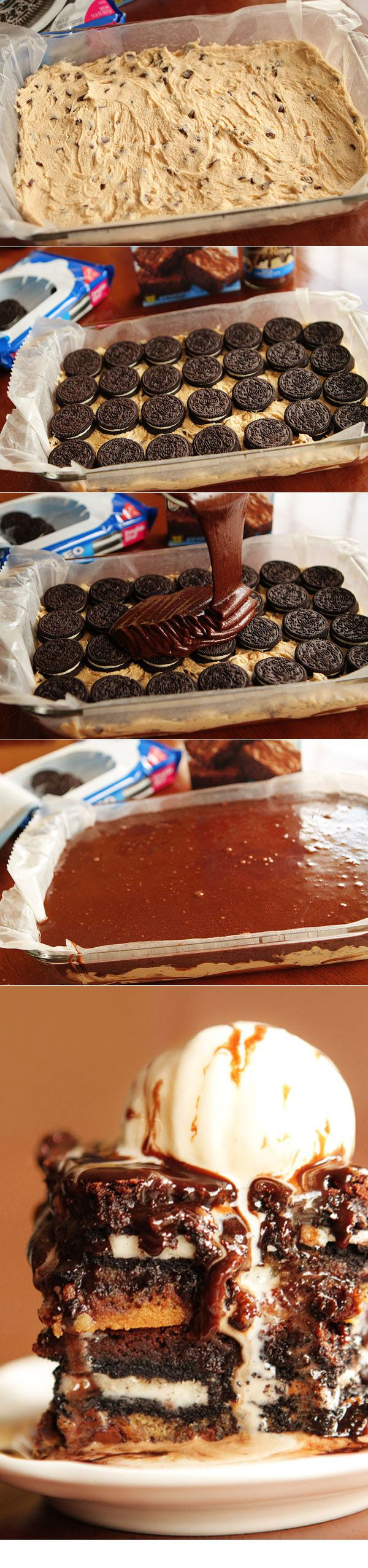 Ultimate Chocolate Chip Cookie n' Oreo Fudge Brownie recipe - Layer cookie dough, Oreo cookies, and brownie batter for one ridiculously fabulous dessert!