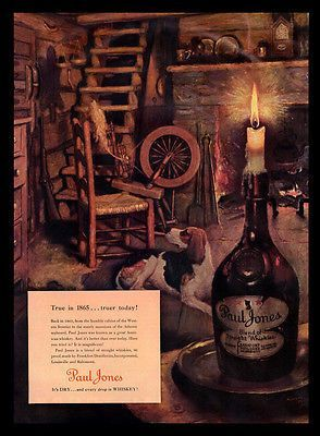 Whiskey Paul Jones AD 1940s Beagle Dog Norman Price Art AD Kentucky Distillery