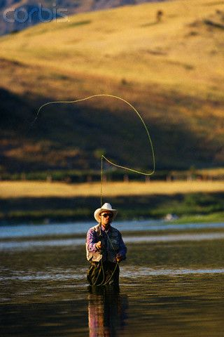 Fly fisherman casting in river fly fishing pinterest for Fly fishing casting techniques