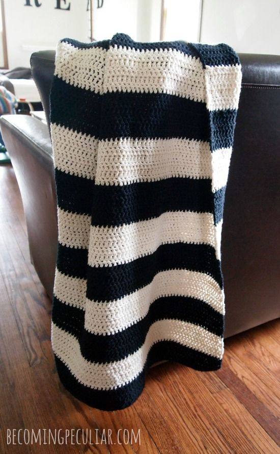 Beginner's Black and White Striped Cotton Crochet Throw / Blanket Pattern from Becoming Peculiar.
