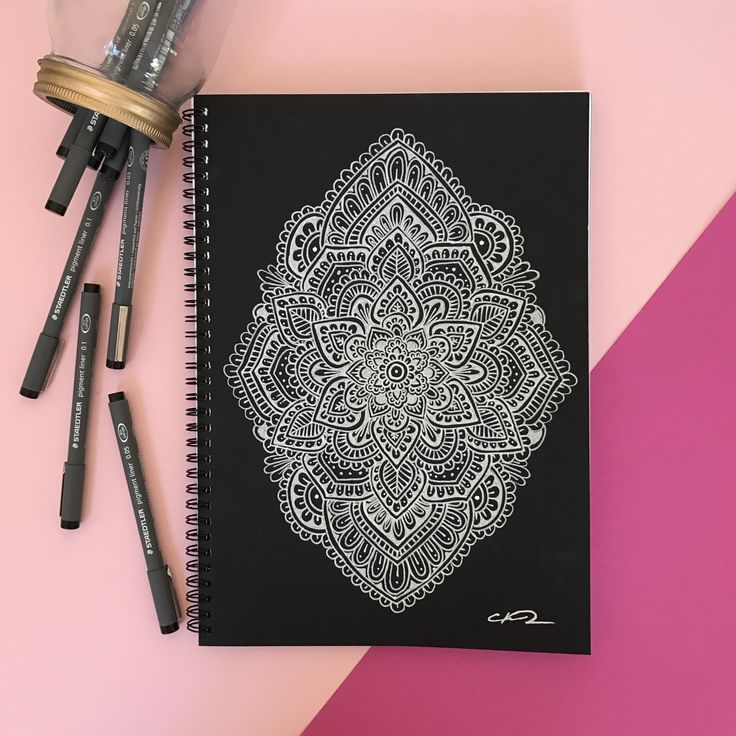 Mandala hand drawn artwork.  White ink pen on black paper.  For more information check out our website!