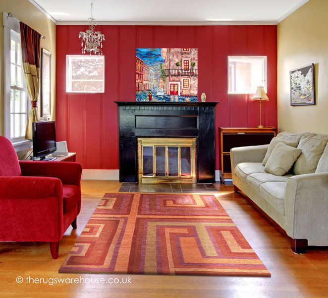 Cassiano Reds Rug, A Luxurious Hand Knotted Modern Wool Carpet In Orange,  Gold
