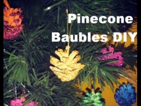 Pinecone Christmas Baubles DIY Cheap Fast Xmas Ideas #xmas #christmas #crafts