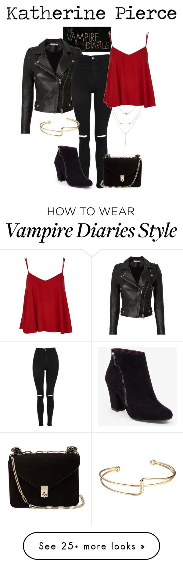 """Katherine Pierce"" by weasleysweaters on Polyvore featuring IRO, Topshop, BCBGeneration, Valentino, NinaDobrev, vampirediaries, KatherinePierce, thevampirediaries and katherine"