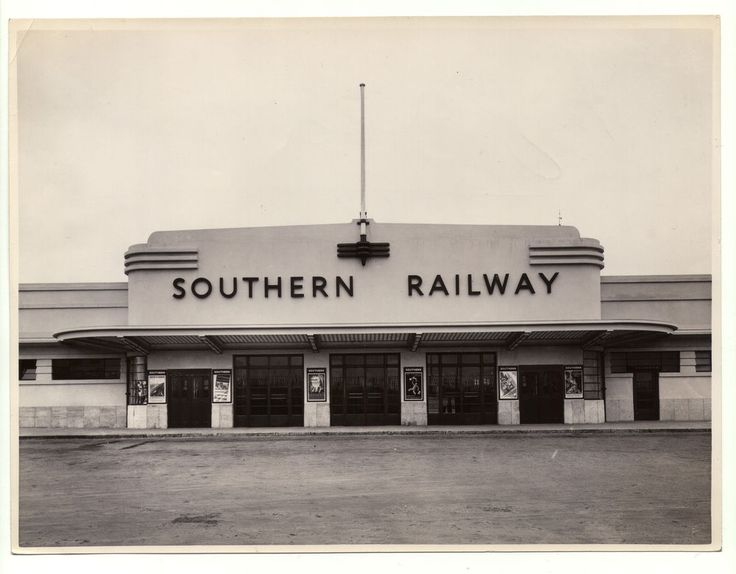 Very rare original glossy silver gelatin print of Southampton Central Station downside / south-side entrance. A beautiful example of Streamline Moderne architecture, Southampton´s Central was built in 1935 and was designed by James Robb Scott, chief architect to the Southern Railway at that time. In early 40`s this downside part was destroyed under Luftwaffe´s Blitz.