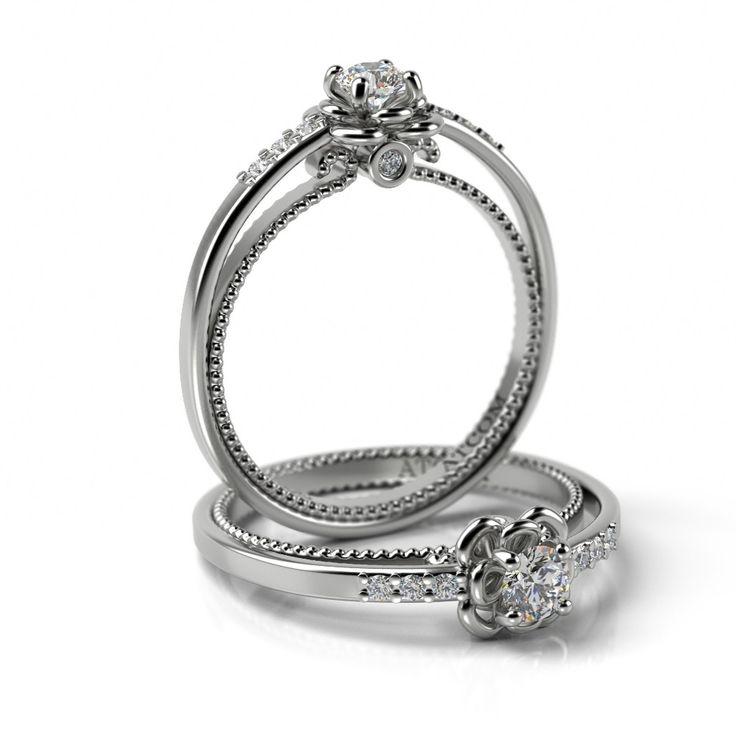 Inel de logodna cu diamante Andree aur alb