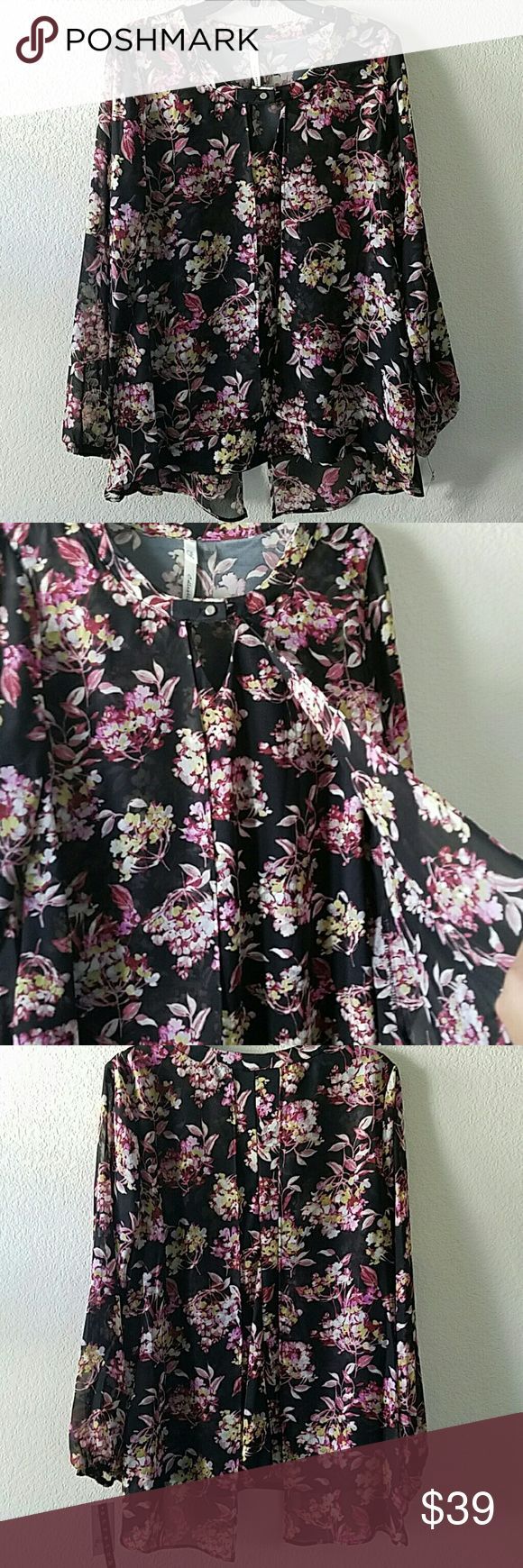 "NY Collection Floral Blouse Beautiful brand new with tag NY Collection Floral Blouse. Shell: 100% polyester Combo: 95% polyester 5% spandex. No stains or damages. Approx L of top 27"". Armpit to armpit approx without stretching 21"". Black with pink and yellow mix flowers. NY Collection Tops"