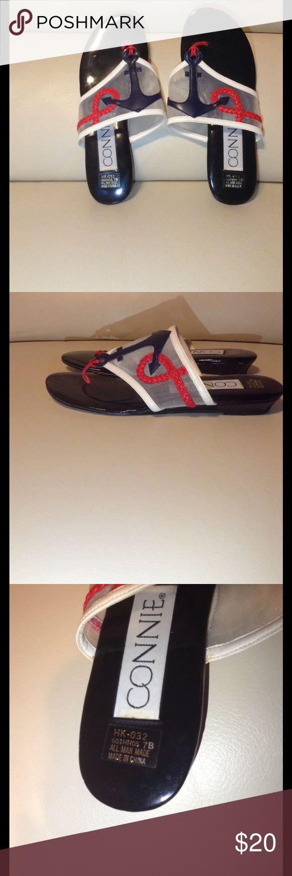 Connie nautical flip flop sandals Excellent condition anchor red white and blue flip flops! Connie Shoes Sandals