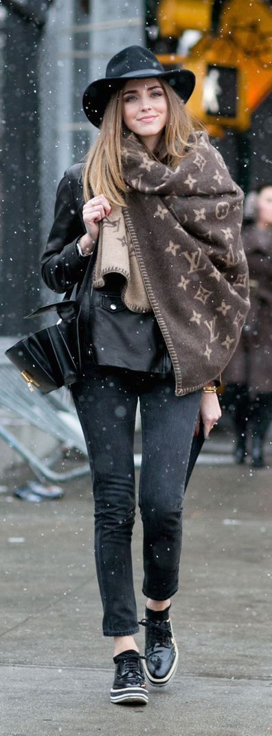 Winter Snow Falling Street Fashion Inspiration '' Cardigan, Moto and Skinny jeans And Classic Boots ''