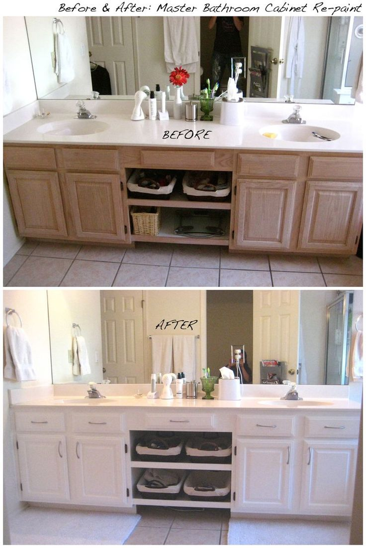 Before And After  Bathroom Cabinets White ~I Really Like The Shelves Added  Between The