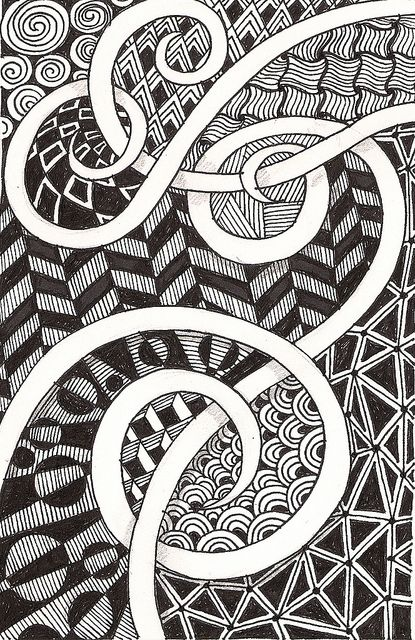Zentangle art.  Swirly scrolls left blank / hollow that twine together.  Love the background fill patterns in this piece.  Very geometric.