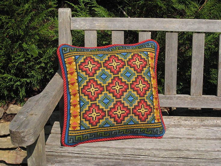My colorful interpretation of a hillside in Pisac, Peru, is a fun and easy pattern to stitch in my TechniqueTM
