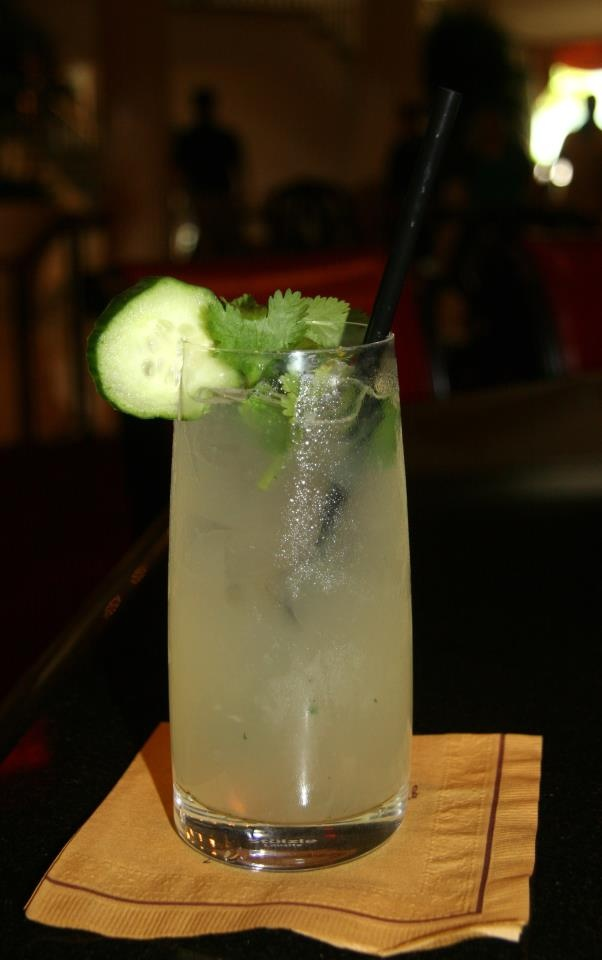 Ginger Beer, Effen Cucumber Vodka, squeeze of lime, and a dash of simple syrup shaken and garnished with English Cucumber, Cilantro, Mint, and Basil.