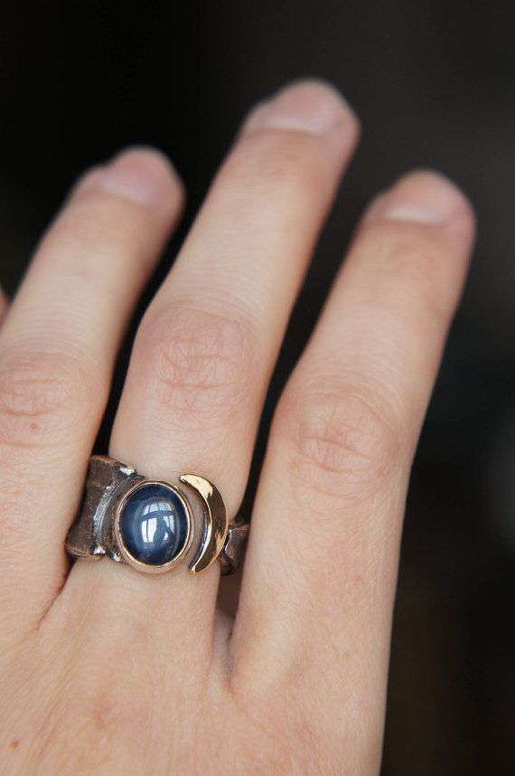 Crescent moon ring sapphire ring adjustable ring by TheManerovs