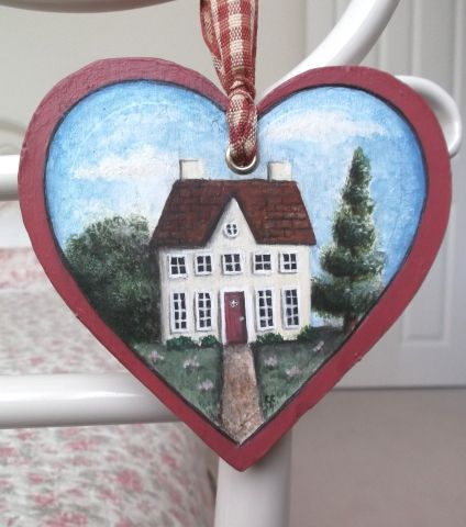 'The Lodge' Folk Art Style, Wooden Heart Decoration - £9.50 at…