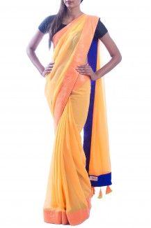 Orange yellow Neon saree