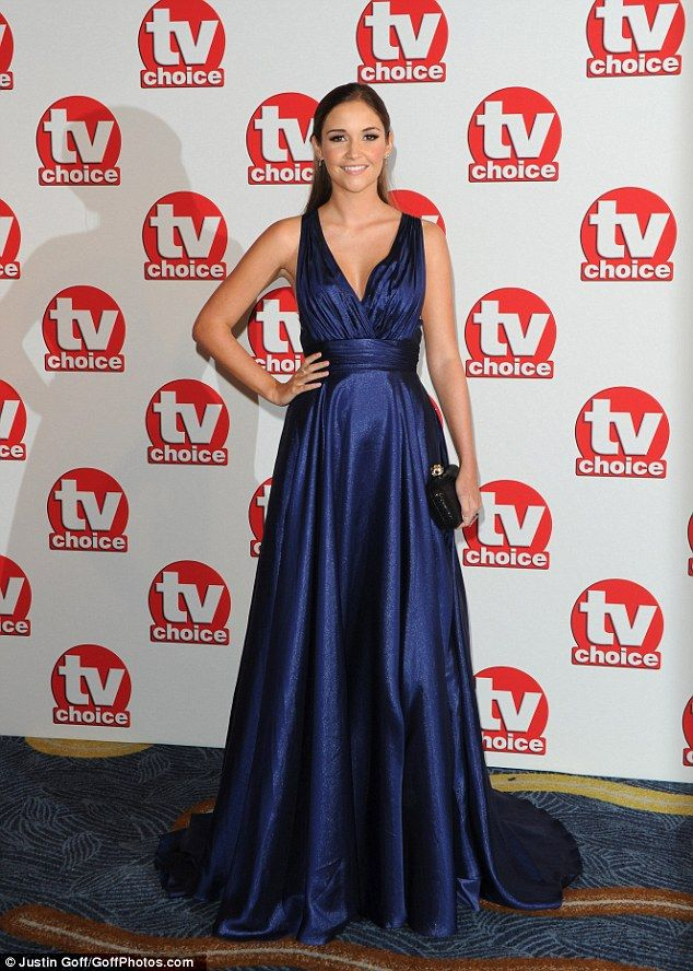 Glowing:Jacqueline Jossa looked stunning as she walked the red carpet all on her own at the 2014 TV Choice Awards on Monday