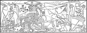 Los estudiantes pueden  colorear la Gernica de Picasso (Mural size) y analizar los simbolos de los horrores de la guerra