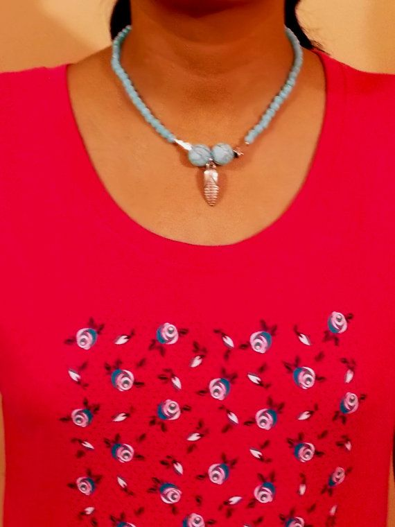 Neon beads necklace with steel beads and pendant. Stylish neon beads make you fashion icon in your circle.