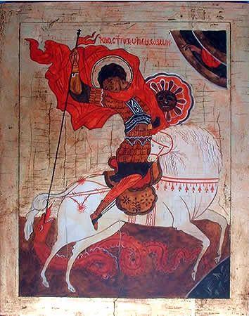 SAN JORGE Y EL DRAGÓN (II). Pintura sobre tabla. Escuela de Novgorad. Primer mitad del siglo XIV. Se encuentra en la Galería Trietiakov, Moscú, Rusia