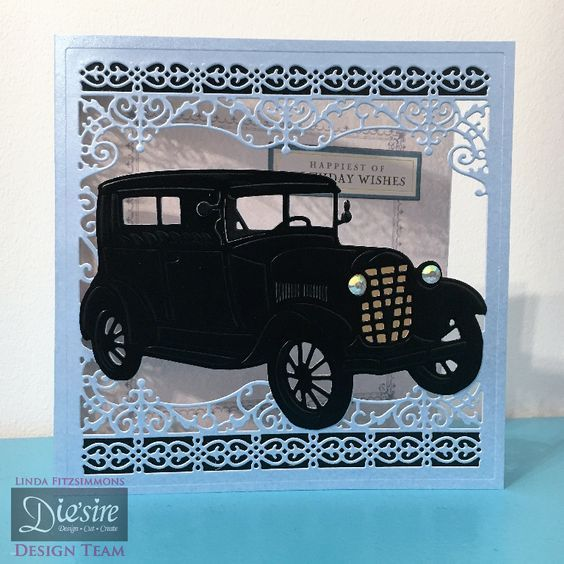 """6x6"""" card using Crafter's Companion Downton Abbey Create-a-card Vintage Car die. Designed by Linda Fitzsimmons #crafterscompanion #DowntonAbbey"""