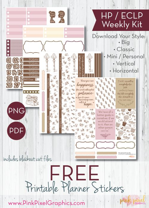 Being Jane: Download your free planner printable stickers inspired by Jane Austen for Happy Planner, Erin Condren (ECLP) and more. These free planner sticker printables kit will fit any planner. www.pinkpixelgraphics.com {subscription required}