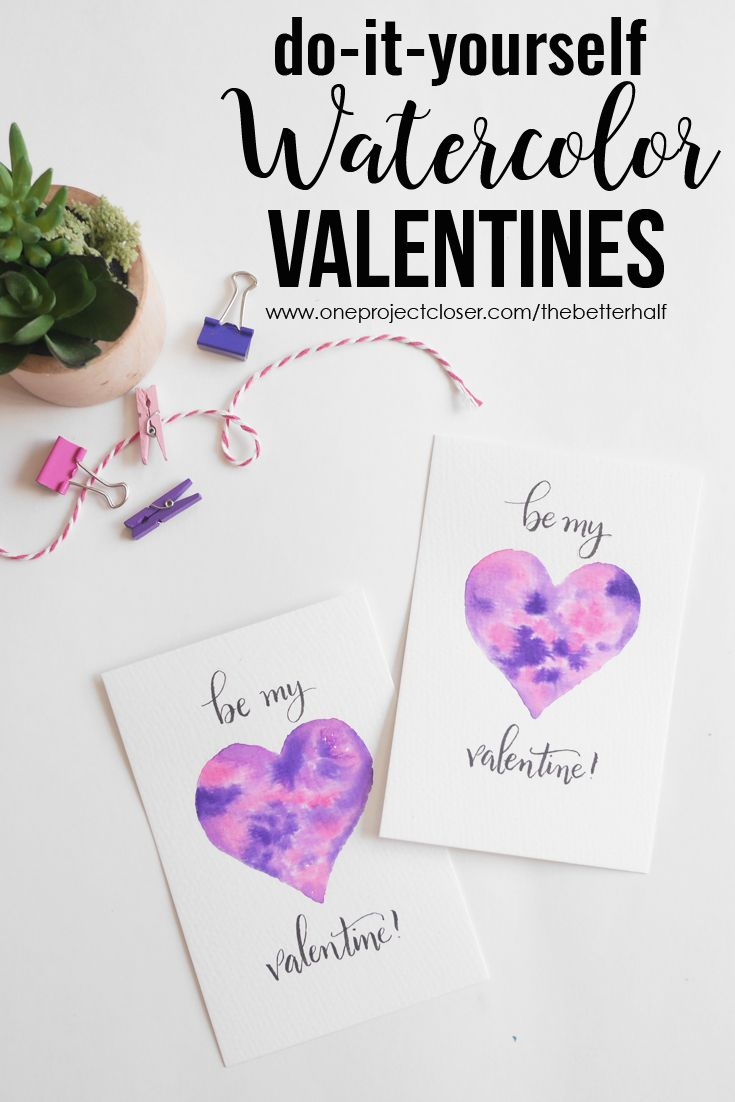 Love these easy DIY Watercolor Valentines with the help of a free printable template from One Project Closer! via @JocieOPC