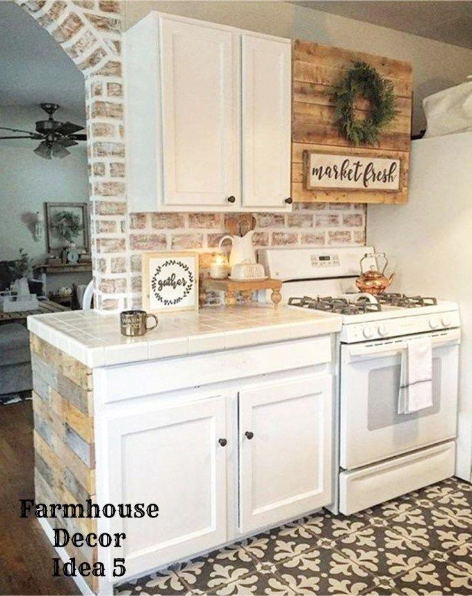 Farmhouse Decor Clean Crisp Organized Farmhouse Style Decor Ideas For Your Home Small Farmhouse Kitchen Rustic Kitchen Cabinets Farmhouse Kitchen Decor