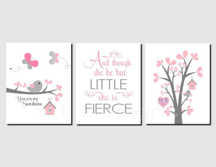 Pink Grey Wall Art S Room Decor Bird Tree Toddler