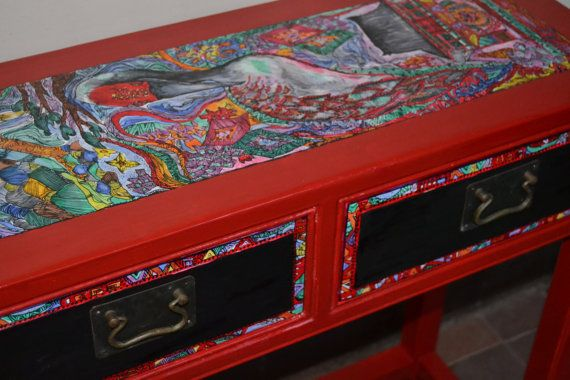 Oriental Furniture - Hand-painted Unique Tall dresser - Painted furniture SALE