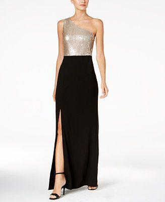4ccb8b7cbda Calvin Klein One-Shoulder Column Gown - Dresses - Women - Macy s ...