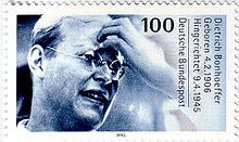 German commemorative stamp of Dietrich Bonhoeffer from 1995