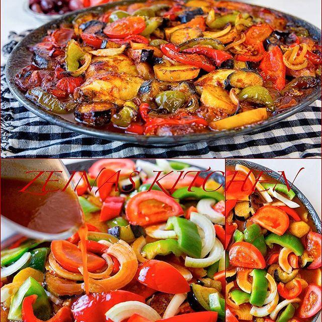 Tapsi- En god kurdisk gryta som tillagas i ugn med grönsaker och tomatsås. Man kan göra den vegetarisk, med kött eller kyckling. Denna är gjord med marinerad kyckling, aubergine, potatis, paprika, tomat och lök😍👌👌👌 Recept hittar du på bloggens startsida