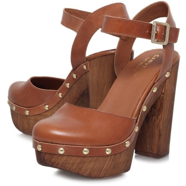 Carvela Karen Leather Platform Clog Sandals, Tan ($105) ❤ liked on Polyvore featuring shoes, buckle shoes, leather platform shoes, synthetic leather shoes, flat ankle strap shoes and block heel shoes
