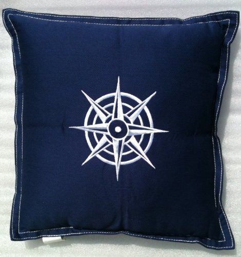 Nautical BOAT YACHT Embroidered MARINER`S COMPASS Throw Pillow NAVY BLUE & WHITE (13 Square)