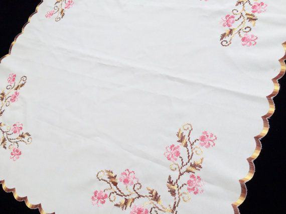 Embroidered Vintage Square Polyester Tablecloth. Cross Stitch Lilies Embroidered Tablecloth with Scalloped Border RBT1109